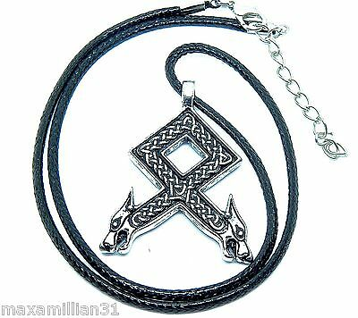 Viking Necklace, Nordic Odal Rune Wolf Heads Pendant, Fast Shipping USA Seller!