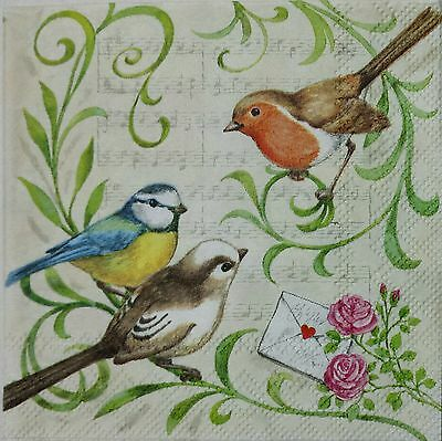 SINGING BIRDS 2 individual LUNCH SIZE paper napkins for decoupage 3-ply