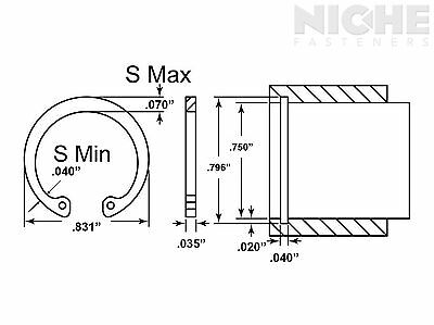 Housing Retaining Ring Internal 3/4 Spring Steel ZY (300 Pieces)