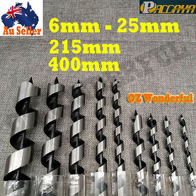 6-25mm x 215mm-400mm AUGER WOOD BORING DRILL BIT SHANK CARPENTRY TIMBER TWIST