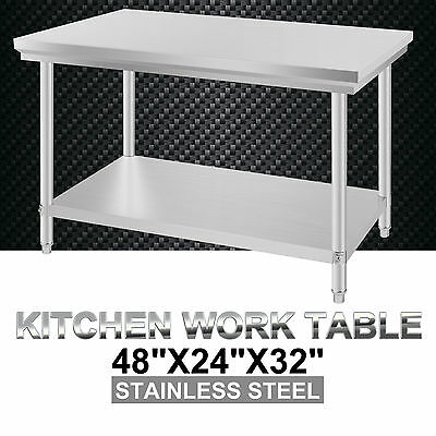 "24"" x 48"" Commercial 201 Stainless Steel Kitchen Work Bench Food Prep Table Top"