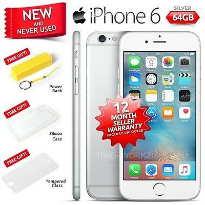 New in Sealed Box Factory Unlocked APPLE iPhone 6 Silver 64GB 4G Smartphone