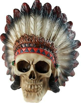 Chief Skull Head 15cm Ornament - Gothic / Native Red Indian Figurine