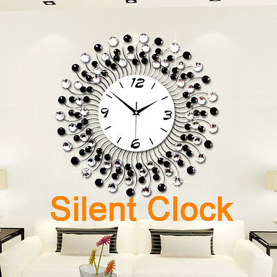 New 3D Modern Luxury Crystal Flash Diamond Wall Clock Silent Home Room DIY Decor