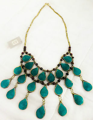Stunning 3 Tier Malachite 100% Handcrafted Artisan Statement Necklace