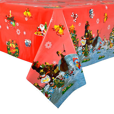Christmas Tablecloth Large 140 x 240cm PVC Wipe Clean Red Xmas Tree Table Cloth