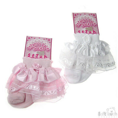 Luxury White And Pink Girl Infant Frilly Lace Socks Newborn to 12 months old
