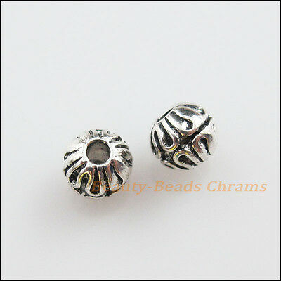 20 New Charms Tibetan Silver Flower Round Ball Spacer Beads 6mm