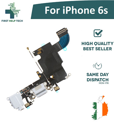 For Apple iPhone 6s Charging Port Dock Connector Headphone Jack Mic Flex White