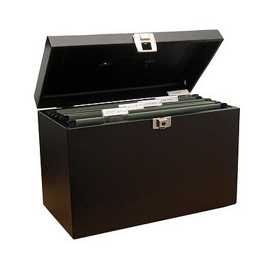 Cathedral A4 Black Metal Lockable Document File Box / Sg20001