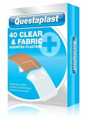 Questaplast 40 Pack Assorted Clear And Fabric First Aid Plasters