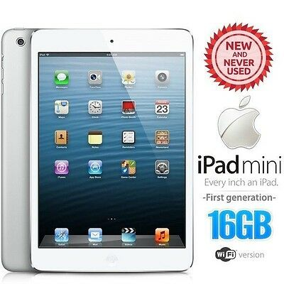 New in Sealed Box APPLE iPad Mini 1st Gen 16GB White PC Tablet (Wifi Only)