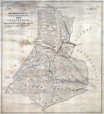 1864 Map of Greensville County Virginia