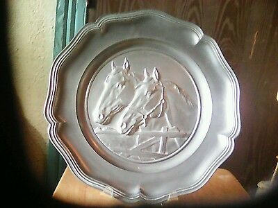 Heavy pewter horse plate   Germany 10and one half inches
