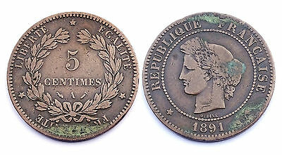 5 Centimes 1891 A. Cérès. France. Bronze
