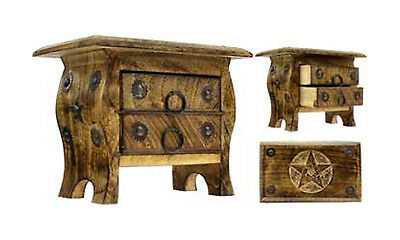 NEW WICCA PAGAN PENTAGRAM 2 DRAWER WOODEN CHEST BOX CUPBOARD 7 x 5 x 4 ALTAR BOX