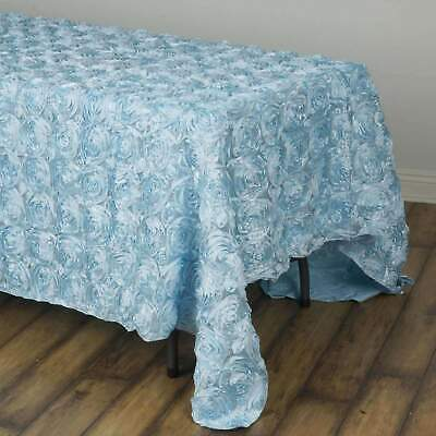90x132 in. Rectangle Grandiose Rosette Tablecloth ~ Wedding Party ~NEW