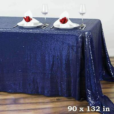 90x132 in. Rectangle Duchess Sequin on Mesh Tablecloth Wedding/Party/Banquet