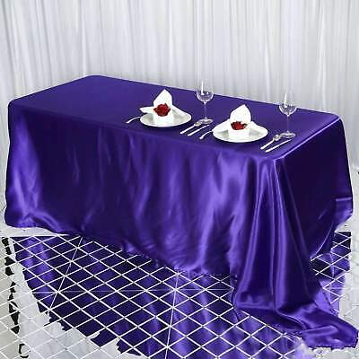 90x132 in. Satin Seamless Rectangle Tablecloth Wedding Party Banquet Restaurant