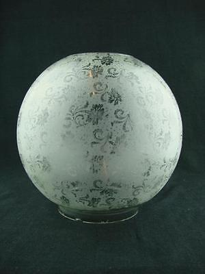 Antique Art Nouveau Design Fully Etched Glass Globe Duplex Oil Lamp Shade