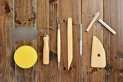 Nomadic Trader Pottery Tool Kit, wood and metal, 8 tool pieces (boxwood potter's