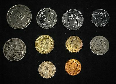 Lot of 10: Central and South America Coins 1901 - 1992