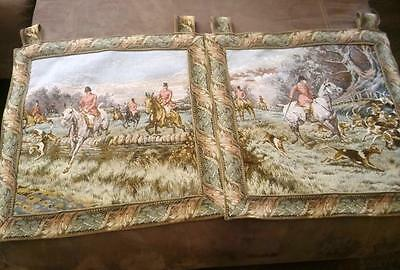 Set of 2 Beautiful Vintage Fox Hunt Themed Tapestries - Take a Moment to Look