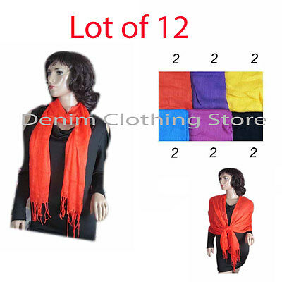 12pcs Women Silk Shawl Wrap Scarves Long Wraps Shawl Beach Scarf Wholesale Lots