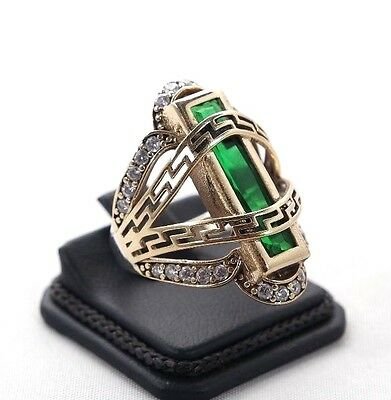 TURKISH HANDMADE EMERALD TOPAZ STERLING SILVER 925K RING SIZE 6,7,8,9 and 10