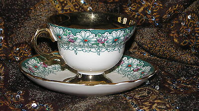 "Elegant""rosina""bone China-Made England Tea Cup&saucer  Green/gold/pink Flowers+"