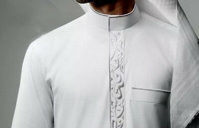 Islamic Men Dishdasha Thobe Jalabeya Dress Abaya Jubba Half Collar and Pant Set