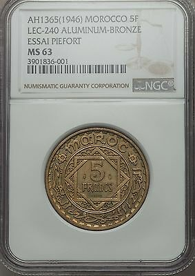 AH 1365 1946 Morocco 5 Francs, Piefort Essai, NGC MS 63, 104 Minted, Scarce