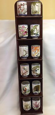 Vintage Franklin Mint Flowers And Birds Of The Orient Set Of Cups/wooden Shelf