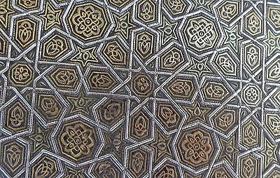 19th C TOLEDO , SPAIN , STEEL BOX INLAID IN GOLD & SILVER IN THE ISLAMIC STYLE