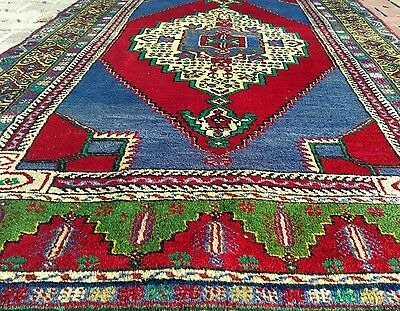 """Authentic 4''×7'6"""" 1900-1930s Antique Lambs Wool Pile  Tribal Rug Turkey"""