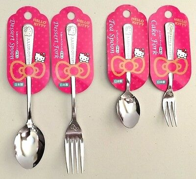 SANRIO HELLO KITTY kawaii Small and Large Spoon and Fork Set F/S made in JAPAN