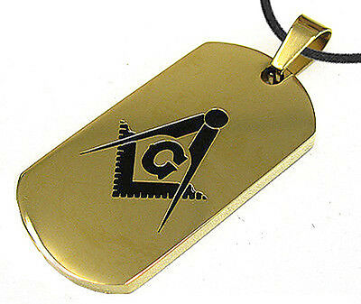 Gold Color Masonic Dog Tag Square & Compass Steel Dog Tag Pendant Chain Necklace