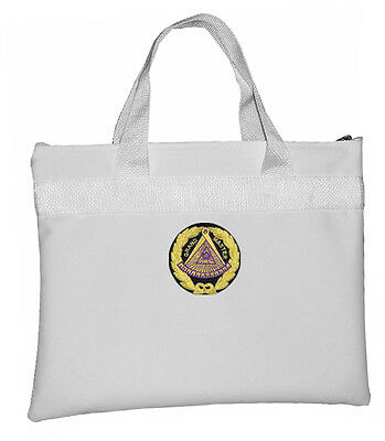 White Grand Master Masonic Tote Bag for Freemasons - Colorful Round Classic Logo