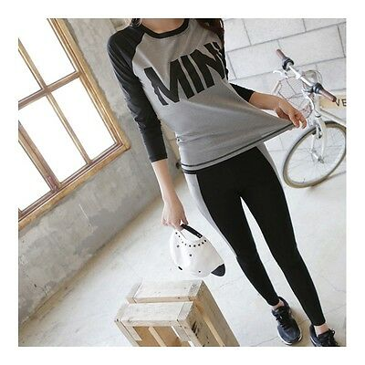 Exquisite Woman Casual Sports Yoga Fitness Skinny Running Clothes   black grey