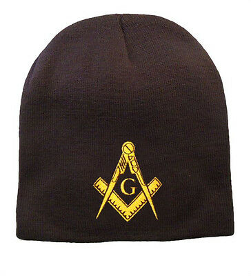MASONIC KNIT BEANIE on BLACK - WITH 20+ EMBROIDERED LOGOS for MOST ... 7750749cc3e0