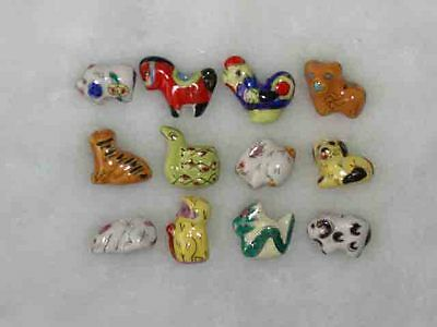 Lucky Big 10pcs 12 Zodiacal Animals Tiger Rabbit Pig handcrafted porcelain beads