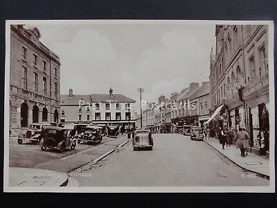 N Ireland ARMAGH Market Street Animated Scene c1936 Postcard by Valentine