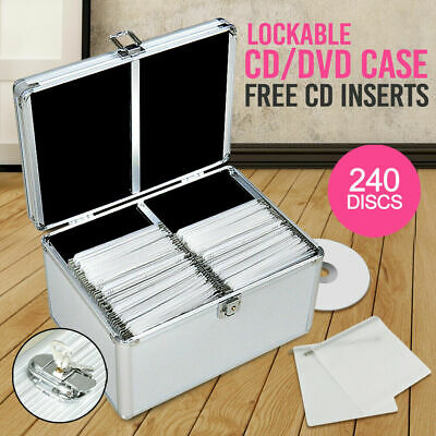 Aluminium CD Case DVD Case Bluray Lock Storage Case Box 240 Discs