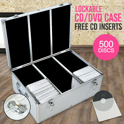 Aluminium CD Case DVD Case Bluray Lock Storage Case Box 500 Discs