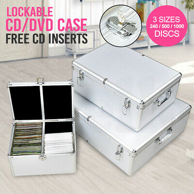 Aluminium CD Case DVD Case Bluray Lock Storage Case Box 240/500/1000 Discs