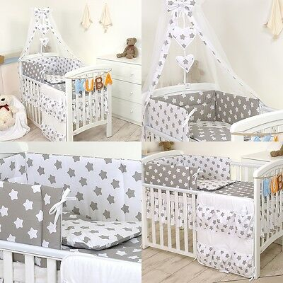 6 9 11 Pieces Cot and Cotbed Bedding Set Boy Girl Unisex   - Stars Owls Teddies