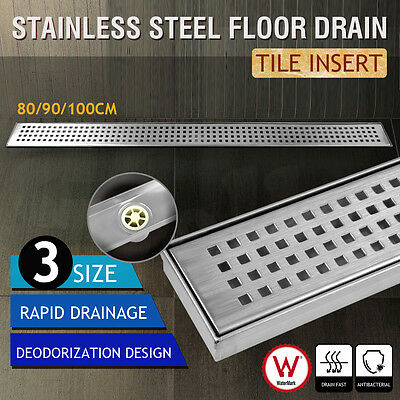 800-1000MM Square Stainless Steel Shower Grate Drain Floor Waste Linear Bathroom