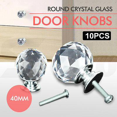 10 x 40mm Round Diamond Clear Crystal Glass Door Pull Drawer Knob Handle Cabinet
