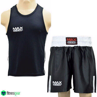 Boxing Vest and Shorts Uniform Kick Fight Training Kit Top Bottom Set MMA