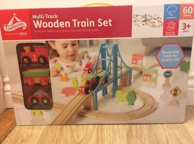 Carousel Wooden Train Set Multi city 60 Pieces Brio Compatible Railway Track